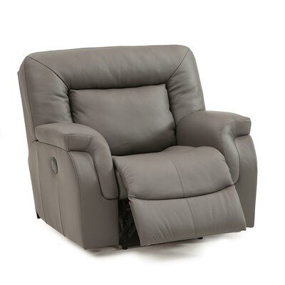 Leaside Rocker Recliner Upholstery: Leather/PVC Match - Tulsa II Dark Brown, Type: Manual