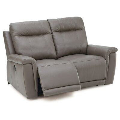 Westpoint Reclining Loveseat Upholstery: Leather/PVC Match - Tulsa II Jet