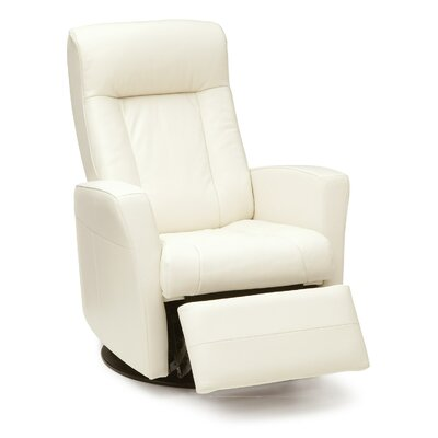 Banff Swivel Recliner Recliner Type: Manual, Body Fabric: Bonded Leather - Champion Alabaster