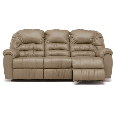 Taurus Leather Reclining Sofa Upholstery: Leather/PVC Match - Tulsa II Dark Brown, Type: Manual