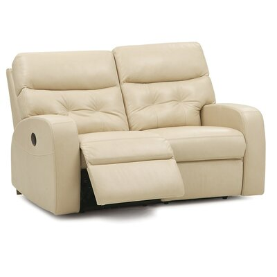 Southgate Leather Reclining Loveseat Upholstery: Leather/PVC Match - Tulsa II Sand, Type: Power