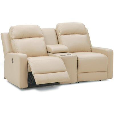 Forest Hill Console Leather Reclining Sofa Upholstery: All Leather Protected - Tulsa II Bisque, Type: Power