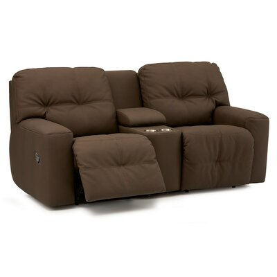 Mystique Leather Reclining Sofa Type: Power, Upholstery: Leather/PVC Match - Tulsa II Dark Brown