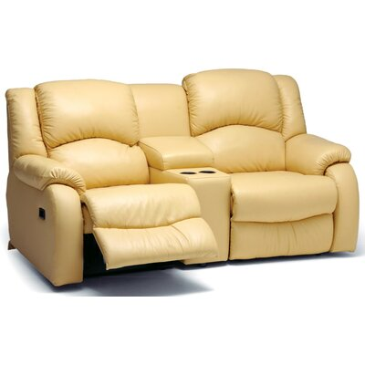 Dane Console Reclining Sofa Upholstery: Bonded Leather - Champion Khaki, Type: Manual