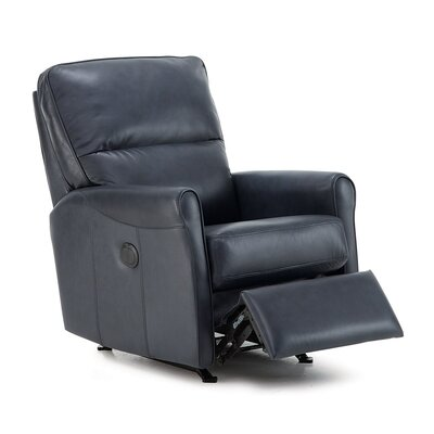 Pinecrest Rocker Recliner Type: Power, Upholstery: Leather/PVC Match - Tulsa II Jet