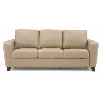 Leeds Leather Sofa Upholstery: Bonded Leather - Champion Alabaster