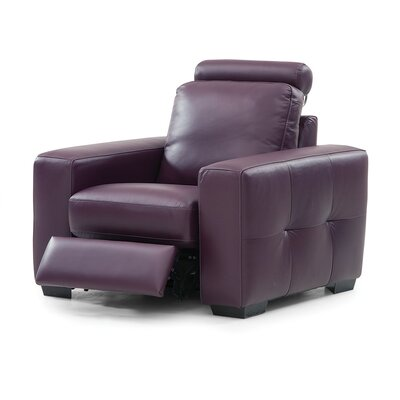 Push Leather Recliner Upholstery: Bonded Leather - Champion Alabaster