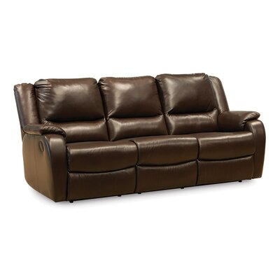 Sawgrass Leather Reclining Sofa Upholstery: Bonded Leather - Champion Onyx, Type: Power
