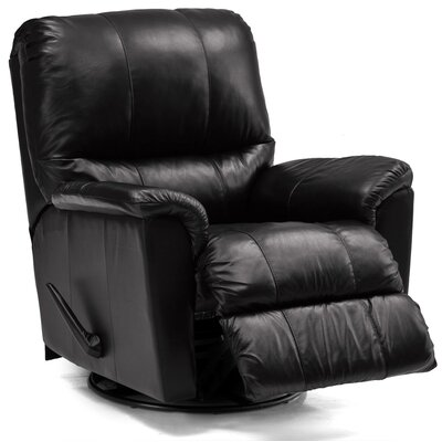 Grady Swivel Rocker Recliner Upholstery: Leather/PVC Match - Tulsa II Jet