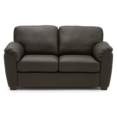 Lanza Loveseat Upholstery: Leather/PVC Match - Tulsa II Jet
