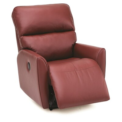 Markland Wall Hugger Recliner Upholstery: Leather/PVC Match - Tulsa II Dark Brown, Type: Power