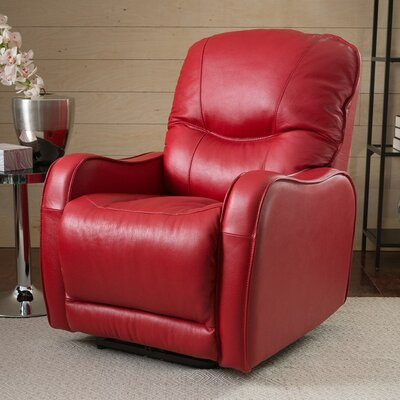 Yates Wall Hugger Recliner Upholstery: Leather/PVC Match - Tulsa II Dark Brown, Type: Power