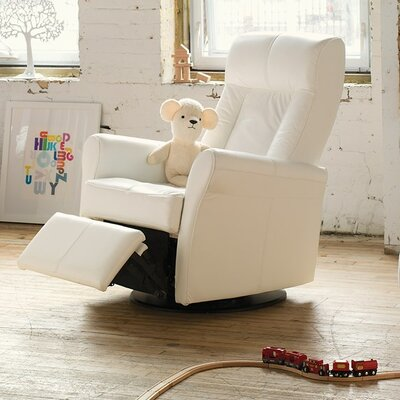 Yellowstone II Swivel Glider Recliner Type: Power, Upholstery: Leather/PVC Match - Tulsa II Jet