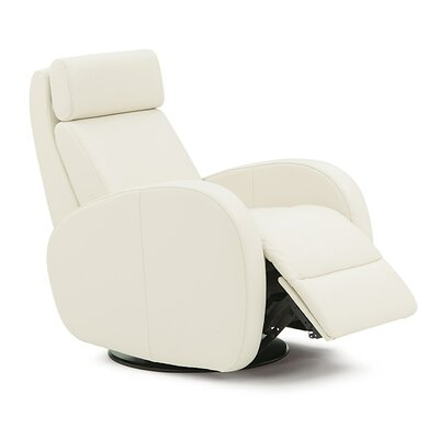 Jasper Swivel Glider Recliner Type: Power, Upholstery: Leather/PVC Match - Tulsa II Chalk