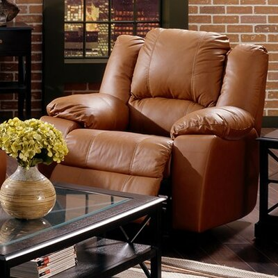 Delaney Wall Hugger Recliner Upholstery: Bonded Leather - Champion Mink, Type: Power