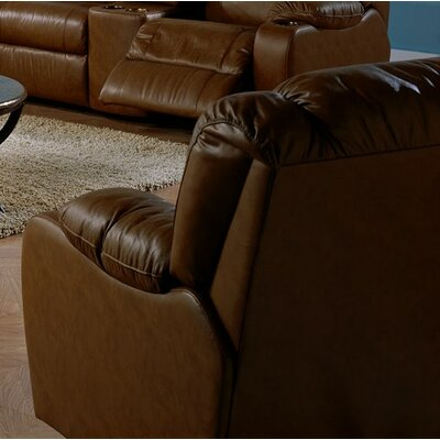 Dugan Rocker Recliner Upholstery: Leather/PVC Match - Tulsa II Jet, Type: Power