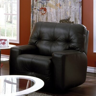 Mystique Manual Swivel Rocker Recliner Upholstery: Bonded Leather - Champion Onyx
