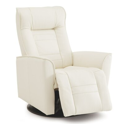 Glacier Bay Wall Hugger Recliner Upholstery: Leather/PVC Match - Tulsa II Jet, Type: Power
