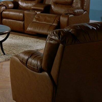 Dugan Swivel Rocker Recliner Upholstery: Bonded Leather - Champion Khaki, Upholstery`: Bonded Leather - Champion Java