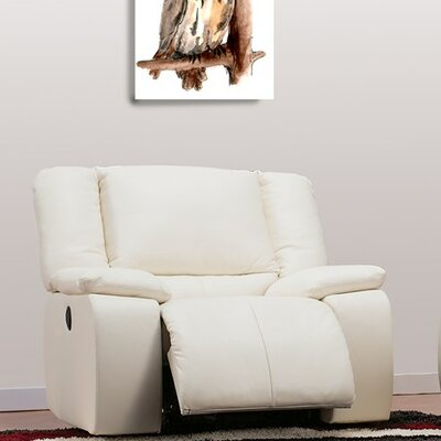 Harrow Wall Hugger Recliner Type: Power, Upholstery: Leather/PVC Match - Tulsa II Chalk