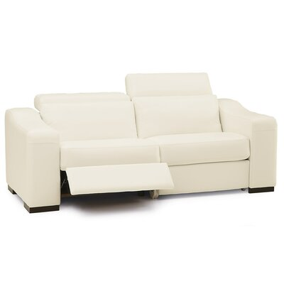 Cortez II Reclining Sofa Type: Manual, Upholstery: Bonded Leather - Champion Alabaster