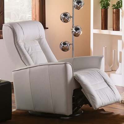 Glacier Bay II Swivel Glider Recliner Type: Power, Upholstery: Bonded Leather - Champion Alabaster
