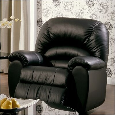 Taurus Wall Hugger Recliner Upholstery: Bonded Leather - Champion Onyx, Type: Manual