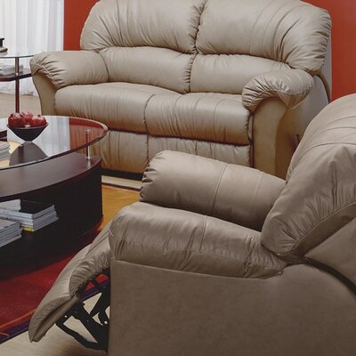 Callahan Rocker Recliner Upholstery: Leather/PVC Match - Tulsa II Dark Brown, Type: Manual