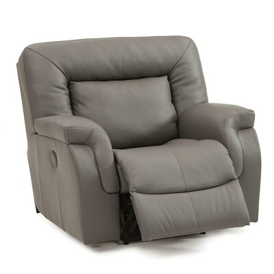 Leaside Wall Hugger Recliner Upholstery: Leather/PVC Match - Tulsa II Dark Brown, Type: Power