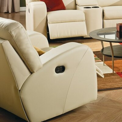Glenlawn Manual Rocker Recliner Reclining Type: Power, Upholstery: Leather/PVC Match - Tulsa II Jet