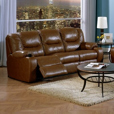 Dugan Console Leather Reclining Sofa Upholstery: Bonded Leather - Champion Onyx, Type: Power
