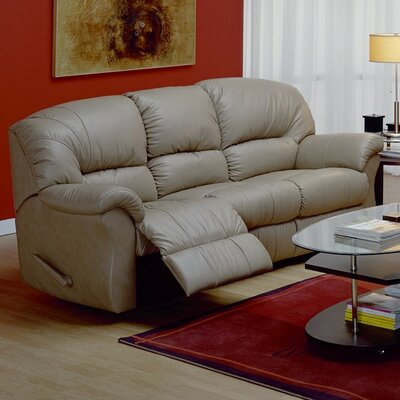 Tracer Reclining Sofa Upholstery: All Leather Protected  - Tulsa II Chalk, Leather Type: Leather/PVC Match - Tulsa II Bisque