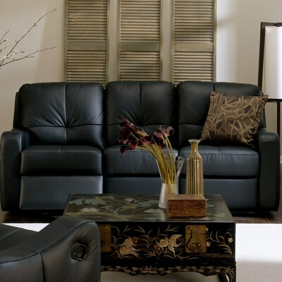 National Reclining Sofa Type: Manual, Upholstery: Leather/PVC Match - Tulsa II Jet