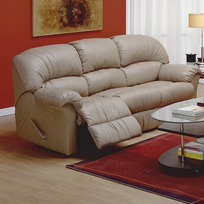 Callahan Leather Reclining Sofa Upholstery: Leather/PVC Match - Tulsa II Chalk, Type: Manual