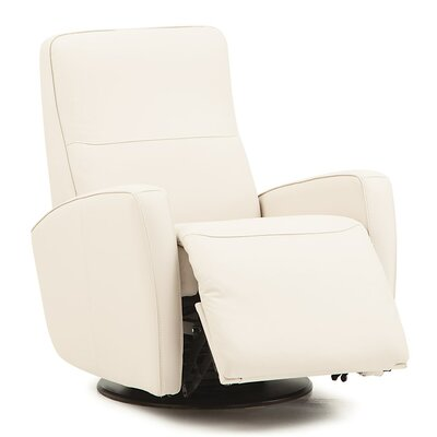 Sierra II Swivel Glider Recliner Upholstery: Leather/PVC Match - Tulsa II Chalk, Type: Manual