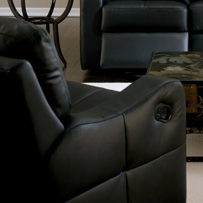 National Rocker Recliner Upholstery: Leather/PVC Match - Tulsa II Dark Brown, Type: Manual