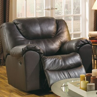 Parkville Wall Hugger Recliner Upholstery: Leather/PVC Match - Tulsa II Dark Brown, Type: Manual