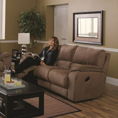 Shields Reclining Sofa Type: Power, Upholstery: Leather/PVC Match - Tulsa II Stone