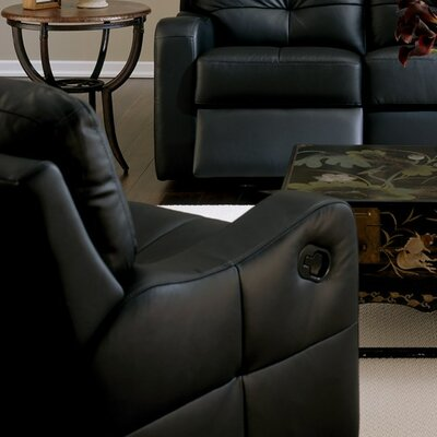 National Wall Hugger Recliner Upholstery: Bonded Leather - Champion Granite, Type: Manual