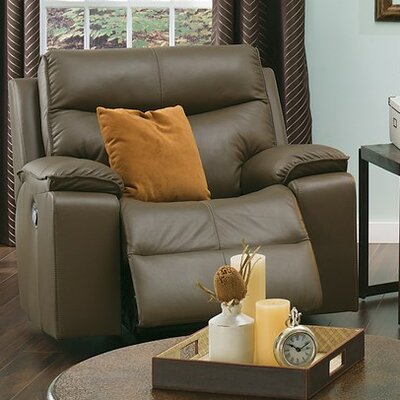 Providence Wall Hugger Recliner Upholstery: Leather/PVC Match - Tulsa II Dark Brown, Type: Power