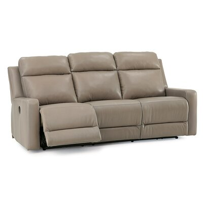 Forest Hill Reclining Sofa Upholstery: Tulsa II Stone, Leather Type: All Leather Protected, Type: Manual