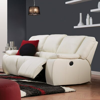 Harrow Leather Reclining Sofa Upholstery: Bonded Leather - Champion Alabaster, Type: Manual