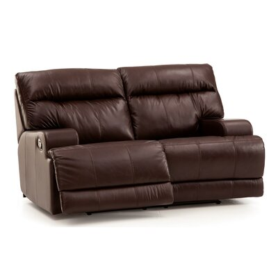 Lincoln Reclining Loveseat Upholstery: Leather/PVC Match - Tulsa II Dark Brown, Upholstery`: Leather/PVC Match - Tulsa II Chalk
