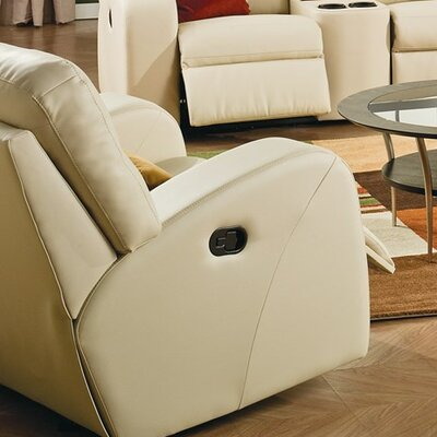 Glenlawn Wall Hugger Recliner Upholstery: Bonded Leather - Champion Alabaster, Type: Power