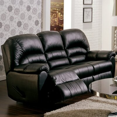 Taurus Leather Reclining Sofa Upholstery: Bonded Leather - Champion Onyx, Type: Manual