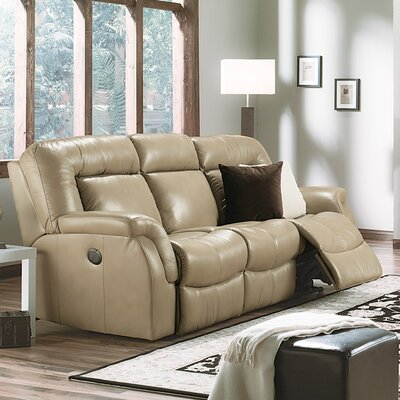 Leaside Leather Reclining Loveseat Upholstery: Leather/PVC Match - Tulsa II Dark Brown, Type: Power