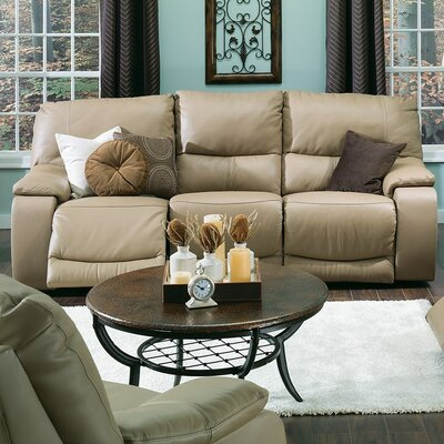 Norwood Leather Reclining Sofa Upholstery: Leather/PVC Match - Tulsa II Bisque, Type: Manual