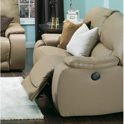 Norwood Leather Reclining Loveseat Upholstery: Bonded Leather - Champion Alabaster, Type: Power
