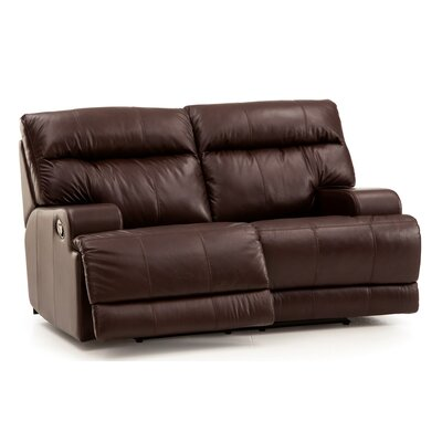 Lincoln Console Reclining Sofa Upholstery: Leather/PVC Match - Tulsa II Jet