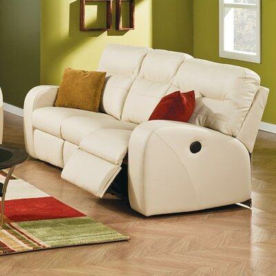 Glenlawn Leather Reclining Sofa Type: Power, Upholstery: Bonded Leather - Champion Alabaster